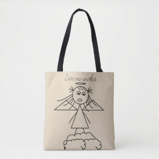 Cute Stick Angel Girl Child Drawing Love Message Tote Bag