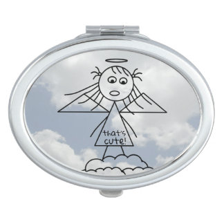 Cute Stick Angel Girl Drawing on Clouds Makeup Mirror