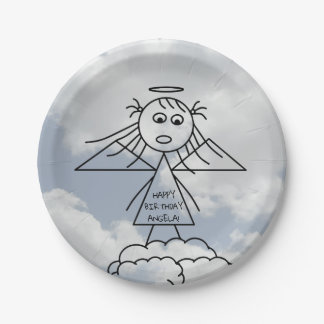 Cute Stick Angel on Clouds Personalized Birthday Paper Plate