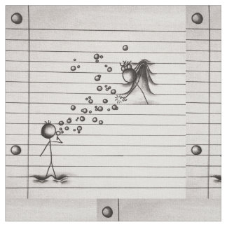 Cute Stick Figure Blowing Bubbles for Girl Fabric