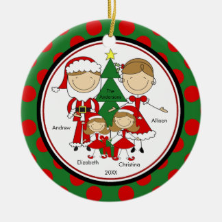Cute Stick Figure Family of 4 Christmas Ornament