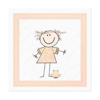 Cute Stick Figure Girl Canvas Print
