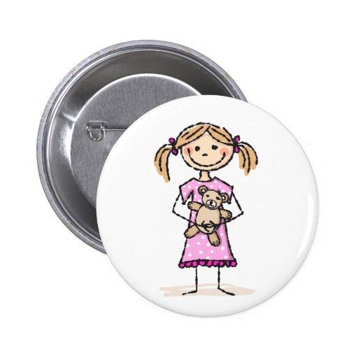 Cute stick figure girl with teddy bear button