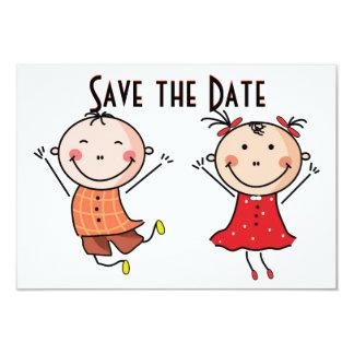 Cute Stick Figure Save the Date Card