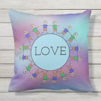 Cute Stick Figures Blue Circle Planet LOVE Message Outdoor Pillow