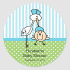 Cute Stork Baby Boy Baby Shower Classic Round Sticker