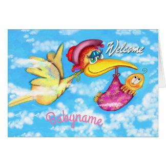 Cute stork baby congratulations card. card