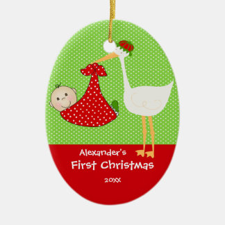Cute Stork Baby's First Christmas Ornament