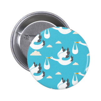 Cute Storks carrying babies pattern 2 Inch Round Button