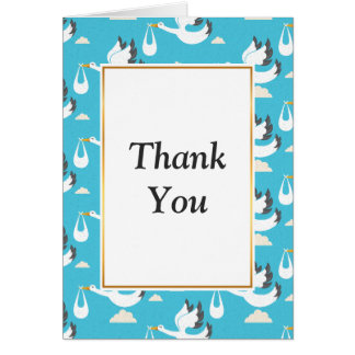 Cute Storks carrying babies pattern Card