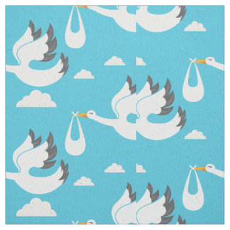 Cute Storks carrying babies pattern Fabric