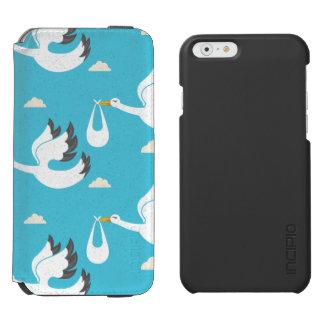 Cute Storks carrying babies pattern Incipio Watson™ iPhone 6 Wallet Case
