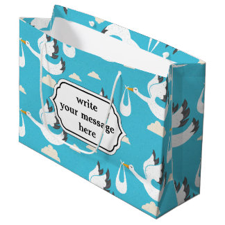 Cute Storks carrying babies pattern Large Gift Bag