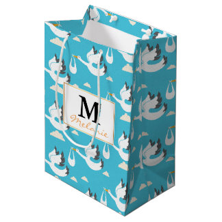 Cute Storks carrying babies pattern Medium Gift Bag