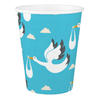Cute Storks carrying babies pattern Paper Cup