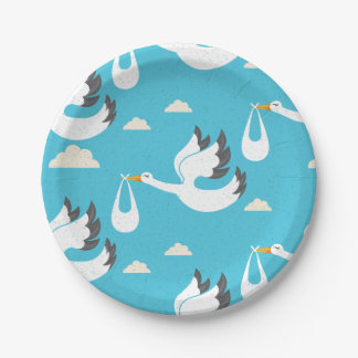 Cute Storks carrying babies pattern Paper Plate
