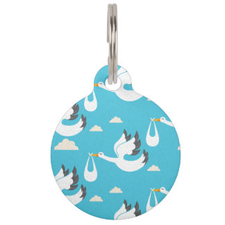 Cute Storks carrying babies pattern Pet Tag