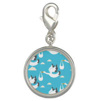 Cute Storks carrying babies pattern Photo Charm