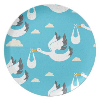Cute Storks carrying babies pattern Plate