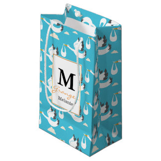 Cute Storks carrying babies pattern Small Gift Bag