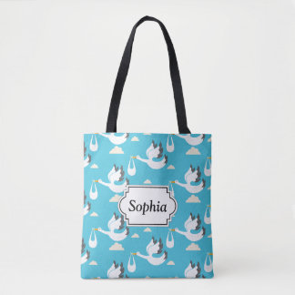 Cute Storks carrying babies pattern Tote Bag