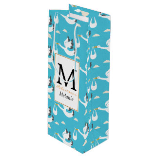Cute Storks carrying babies pattern Wine Gift Bag