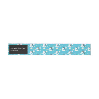 Cute Storks carrying babies pattern Wraparound Address Label