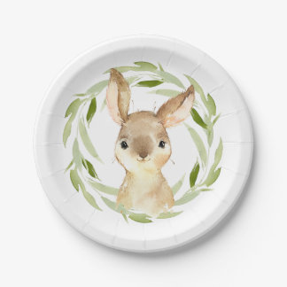 Cute Storybook Brown Bunny Rabbit Paper Plate