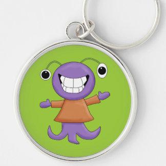 Cute Strange Purple Alien Cartoon Character Silver-Colored Round Keychain