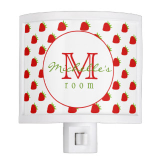 Cute Strawberries | Monogram Night Light