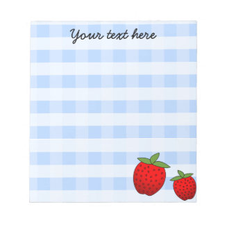 Cute Strawberry Blue Check Custom Notepad