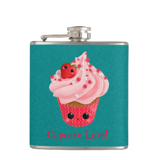 Cute Strawberry Cupcake Hip Flask