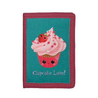 Cute Strawberry Cupcake Tri-fold Wallets