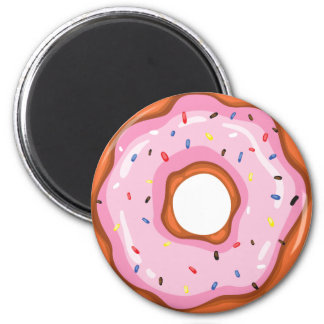 Cute Strawberry Dipped Sprinkles Doughnuts. 2 Inch Round Magnet