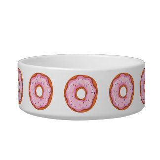 Cute Strawberry Dipped Sprinkles Doughnuts. Bowl
