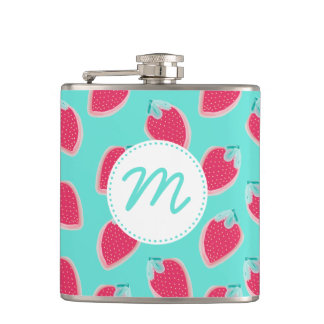 Cute Strawberry Fruit Pattern Hip Flask