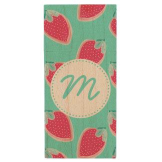 Cute Strawberry Fruit Pattern & Monogram Wood USB Flash Drive
