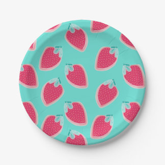 Cute Strawberry Fruit Pattern Paper Plate