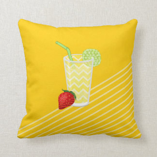 Cute Strawberry Limeade Juicy Drink Throw Pillow