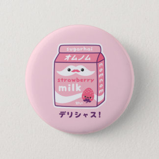 Cute Strawberry Milk 2 Inch Round Button