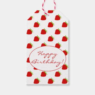 Cute Strawberry Pattern Birthday Gift Tags
