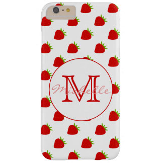 Cute Strawberry Pattern | Monogram Barely There iPhone 6 Plus Case