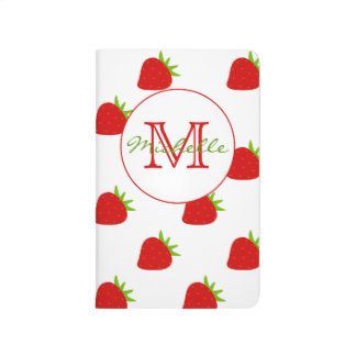 Cute Strawberry Pattern Monogram Pocket Journal