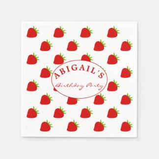 Cute Strawberry Pattern Personalized Napkin