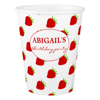 Cute Strawberry Pattern Personalized Paper Cup