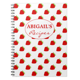 Cute Strawberry Pattern Recipe Notebook