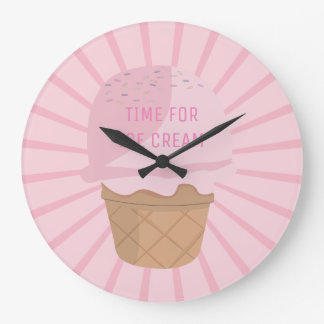 Cute Strawberry Pink Ice Cream Round Clock