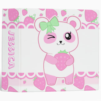 Cute Strawberry pink Kawaii Panda bear Binder