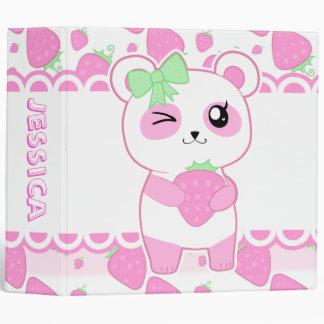 Cute Strawberry pink Kawaii Panda bear Binder