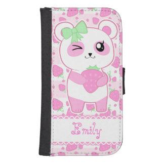 Cute Strawberry pink Kawaii Panda bear Galaxy S4 Wallet Cases